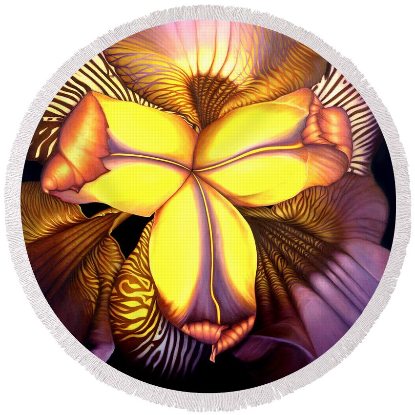 Flower Print Round Beach Towel featuring the painting Goldie's Iris by Anni Adkins