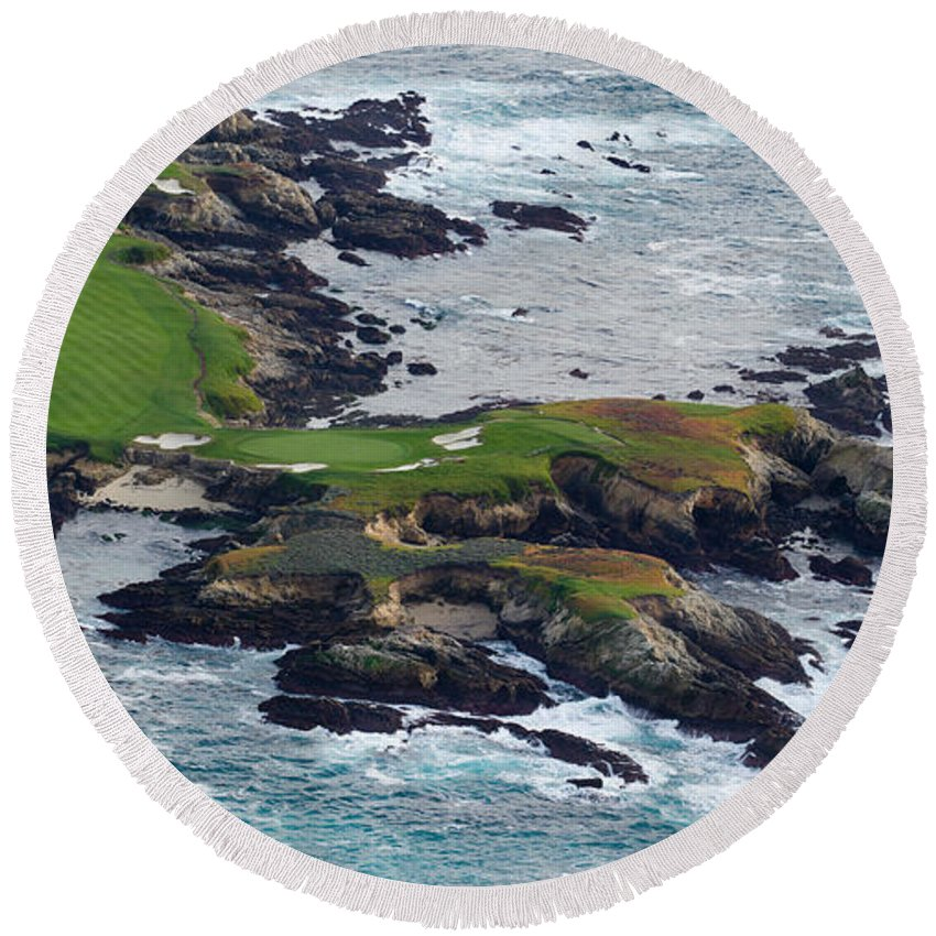 Photography Round Beach Towel featuring the photograph Golf Course On An Island, Pebble Beach by Panoramic Images