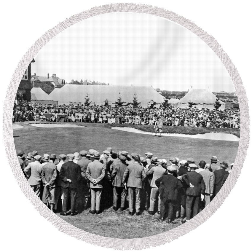 1920 Round Beach Towel featuring the photograph Golf Play At St. Andrews. by Underwood Archives