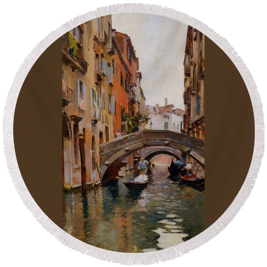 Gondola On A Venetian Canal Round Beach Towel featuring the digital art Gondola On A Venetian Canal by Rubens Santoro