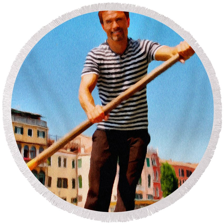 Europe Round Beach Towel featuring the painting Gondolier by Jeffrey Kolker