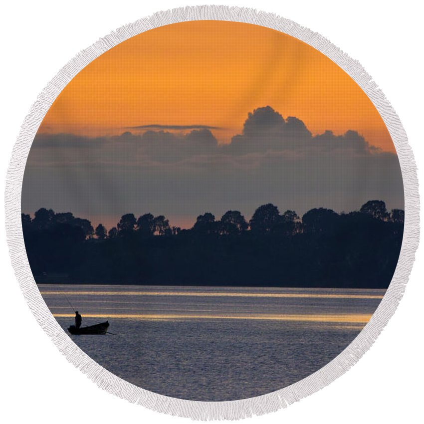 Lake Round Beach Towel featuring the photograph Gone Fishing by William Cleary