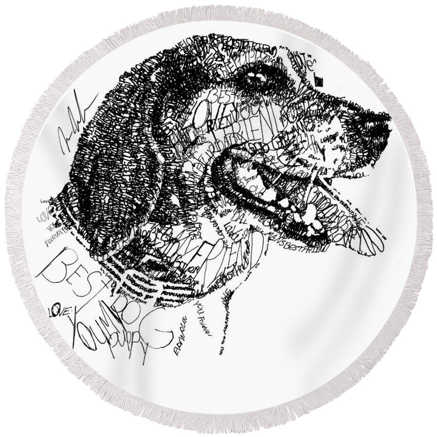 Dog Round Beach Towel featuring the drawing Good Girl by Michael Volpicelli