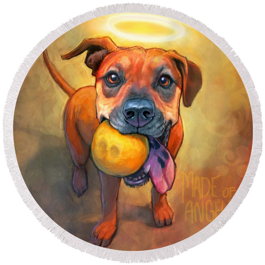Pet Portrait Round Beach Towel featuring the painting Good Karma by Sean ODaniels