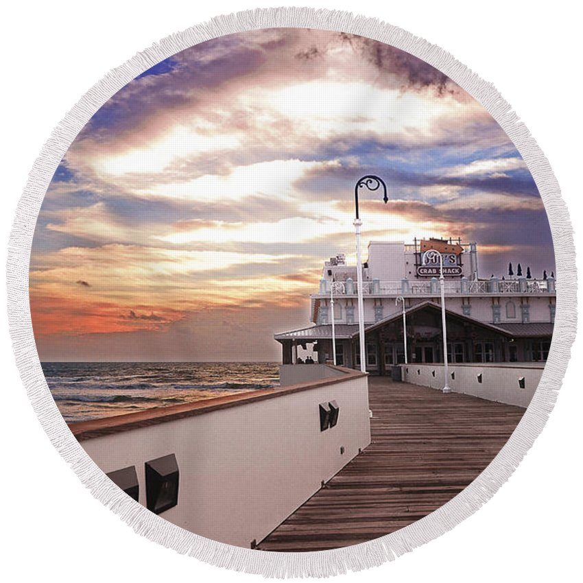 Daytona Beach Round Beach Towel featuring the photograph Good Morning Daytona by Amanda Sinco