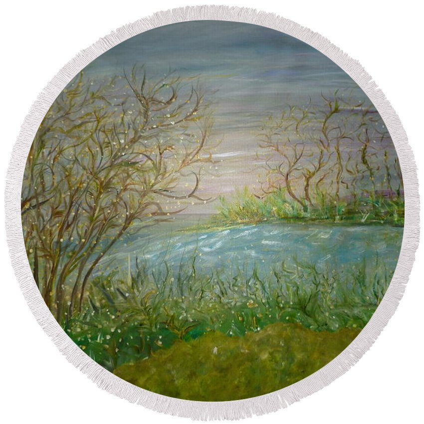 Whimsical Landscape Scene Round Beach Towel featuring the painting Goodbye Hello by Sara Credito