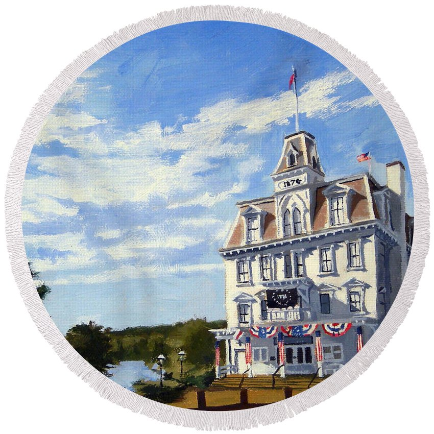 Christine Hopkins Round Beach Towel featuring the painting Goodspeed Opera House East Haddam Connecticut by Christine Hopkins