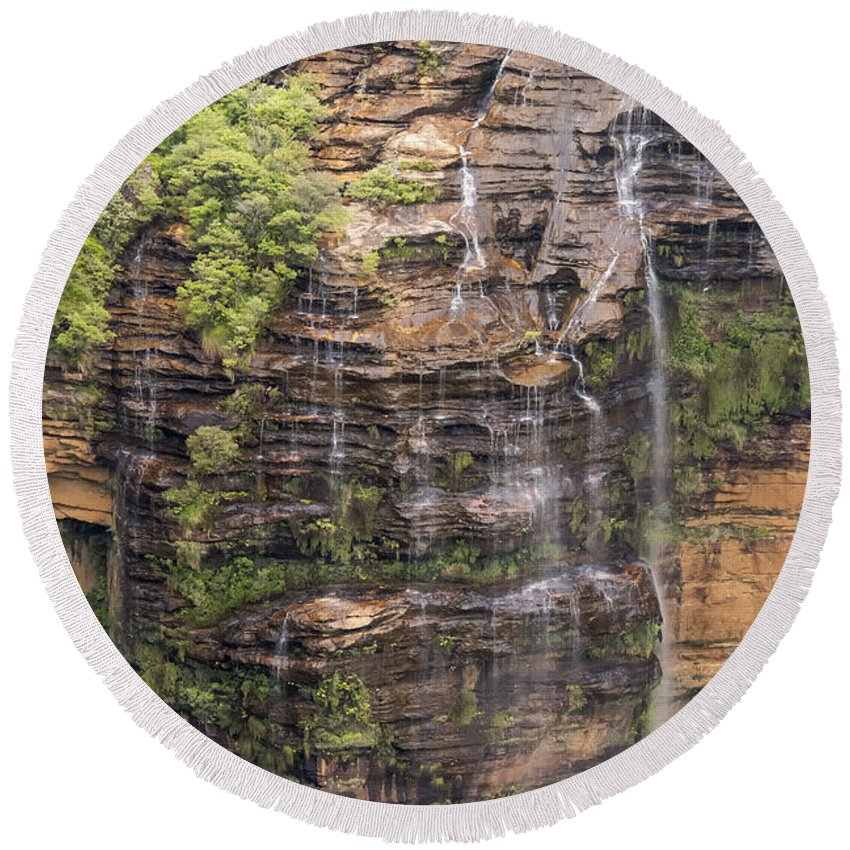 Blue Mountains Australia Mountain Tree Trees Plant Plants Landscape Landscapes Waterfall Waterfalls Wentworth Falls Water Rock Rocks Round Beach Towel featuring the photograph Gordon Falls by Bob Phillips