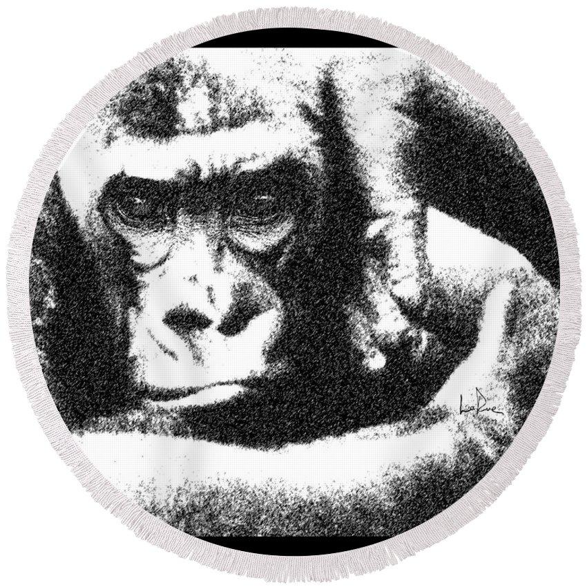 Gorilla Vogue Round Beach Towel featuring the photograph Gorilla Vogue by Doug LaRue