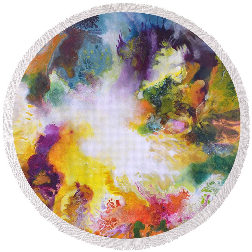 Fluid Round Beach Towel featuring the painting Gossamer by Sally Trace