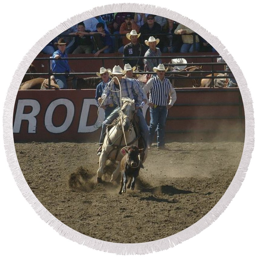 Calf Roping Round Beach Towel featuring the photograph Got Em by Jeff Swan
