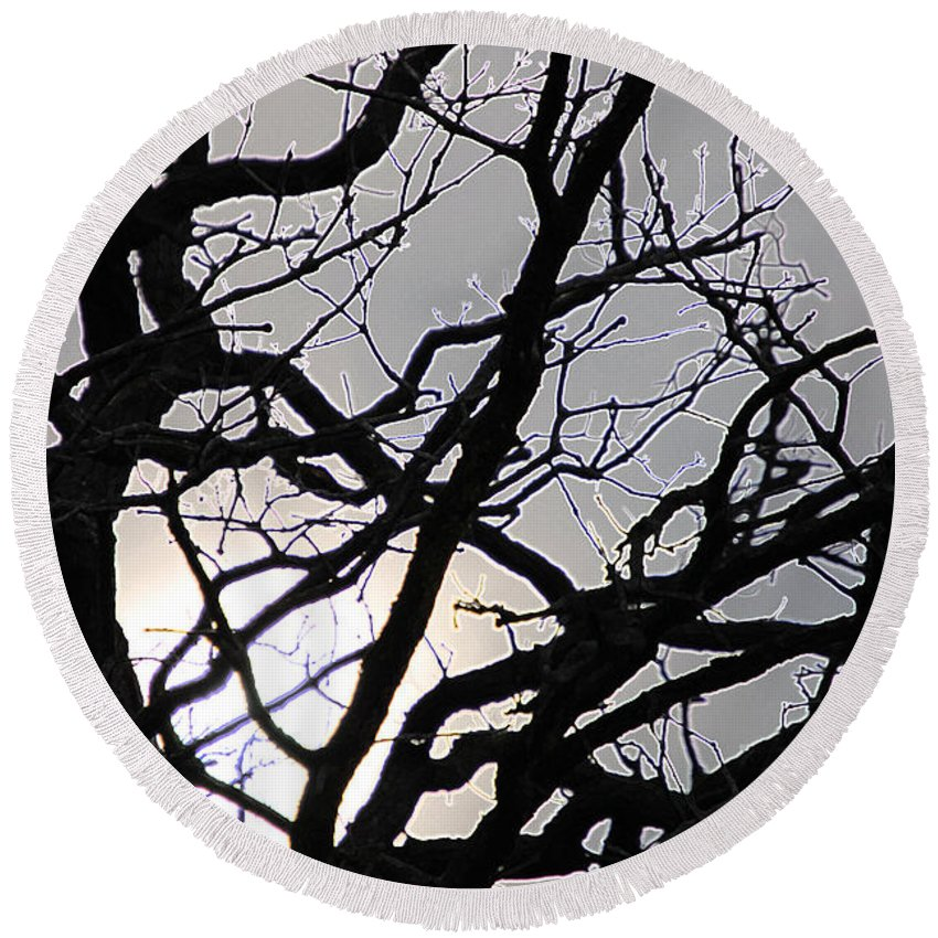 First Star Art By Jrr Round Beach Towel featuring the photograph Goth Tree by First Star Art