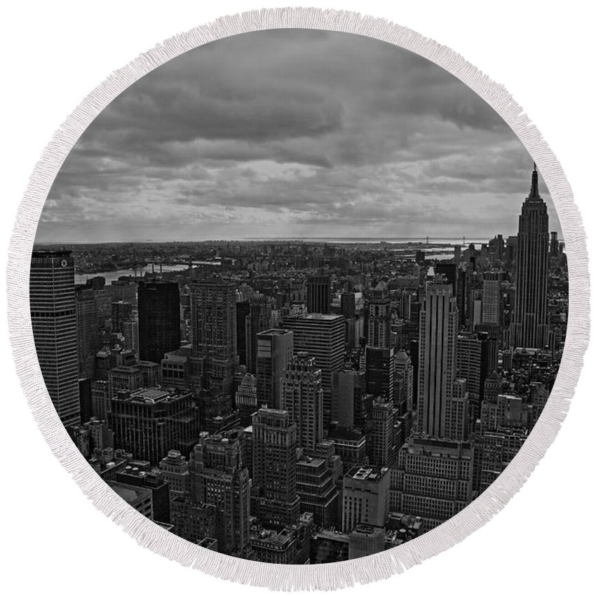 New York City Round Beach Towel featuring the photograph Gotham by David Rucker