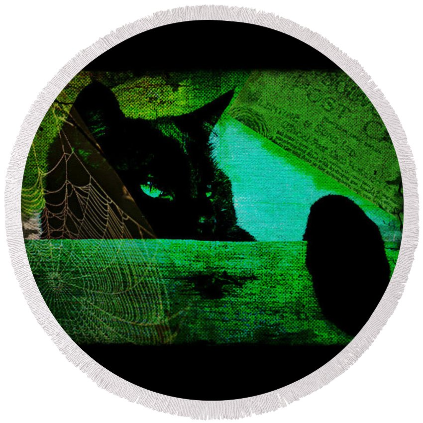 Cat Round Beach Towel featuring the digital art Gothic Black Cat by Absinthe Art By Michelle LeAnn Scott