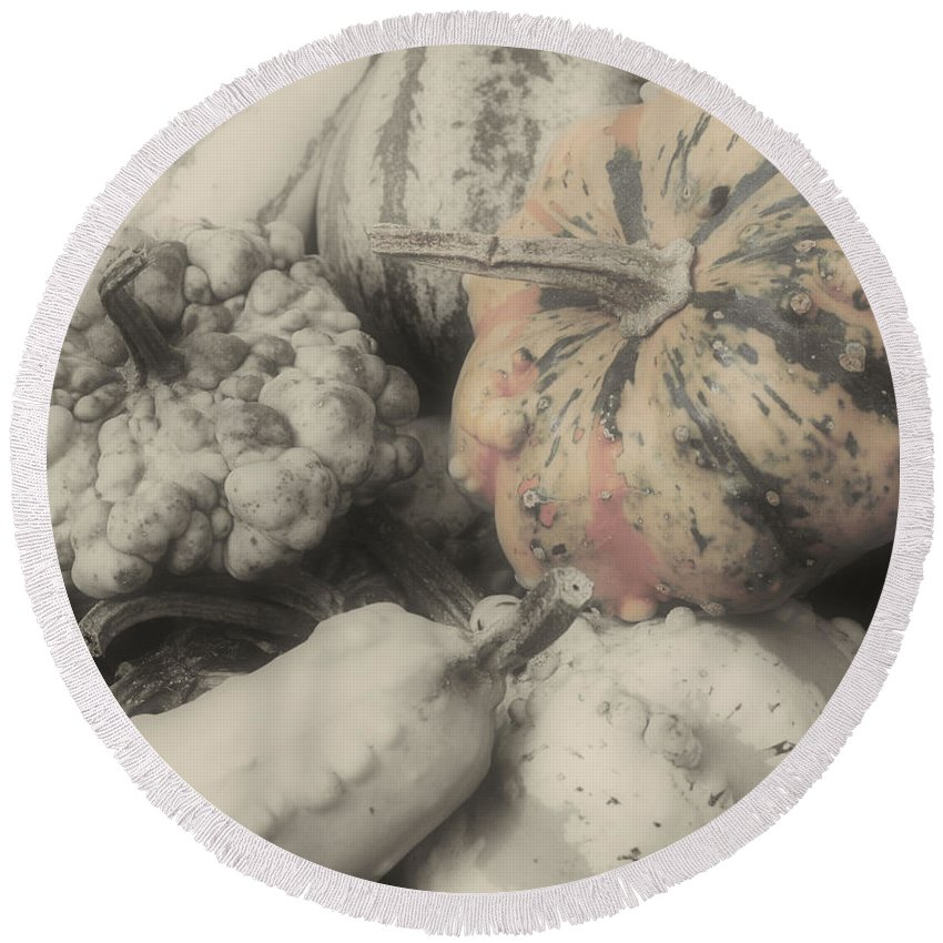Gourds Round Beach Towel featuring the photograph Gourds by Smilin Eyes Treasures