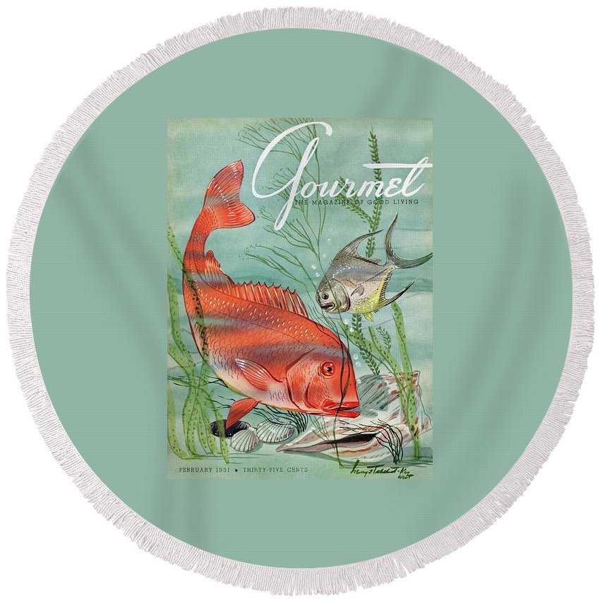 Illustration Round Beach Towel featuring the photograph Gourmet Cover Featuring A Snapper And Pompano by Henry Stahlhut