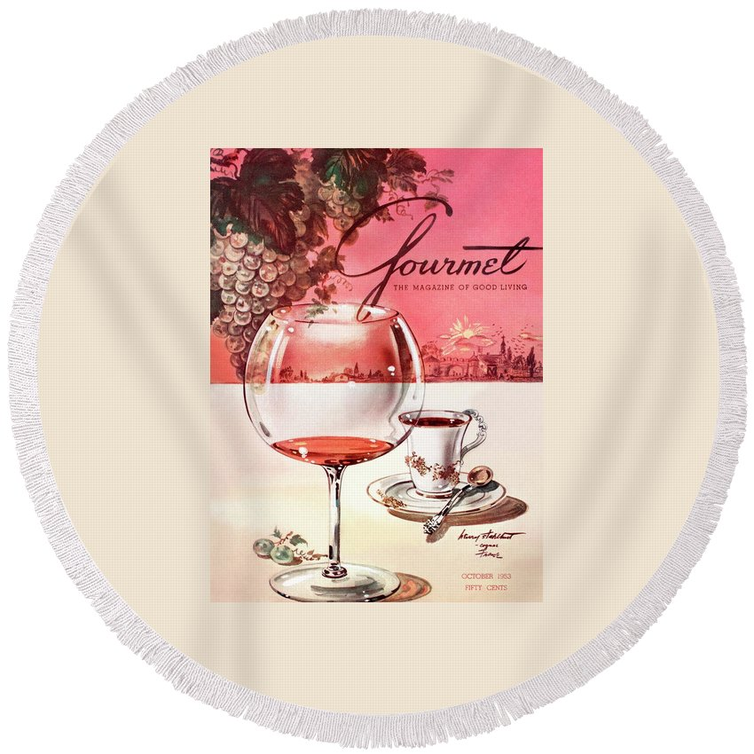 Travel Round Beach Towel featuring the photograph Gourmet Cover Illustration Of A Baccarat Balloon by Henry Stahlhut
