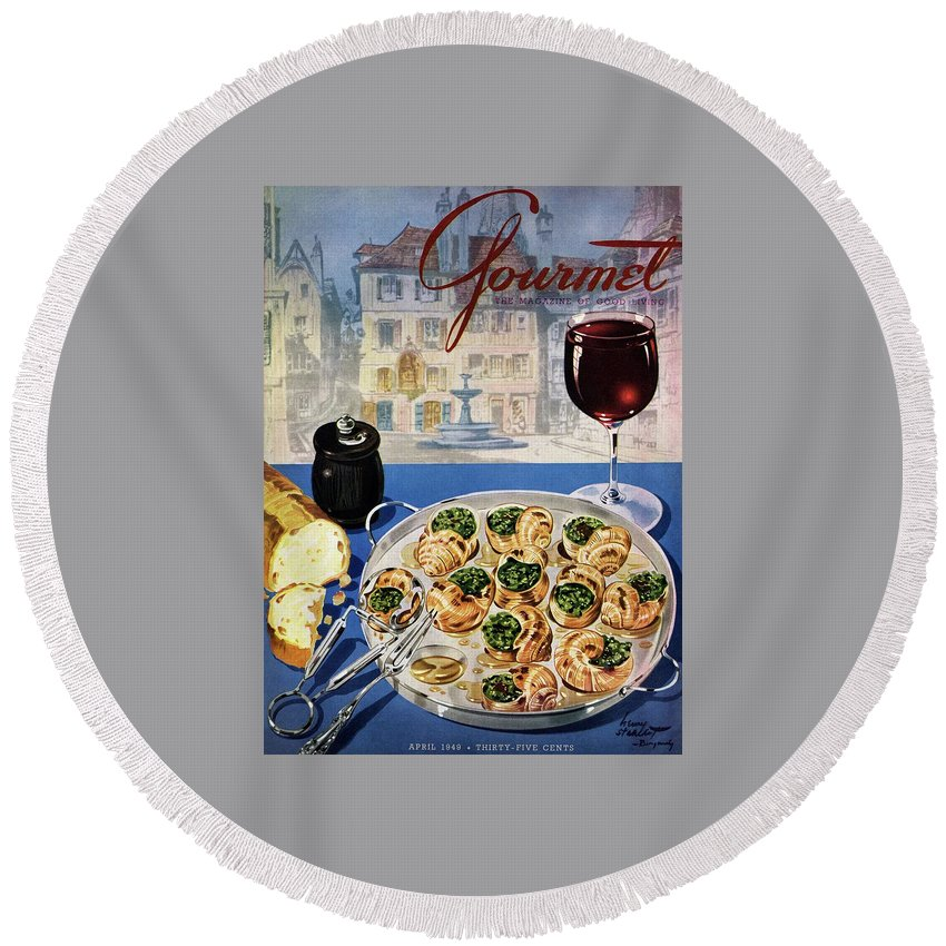 Food Round Beach Towel featuring the photograph Gourmet Cover Illustration Of A Platter by Henry Stahlhut