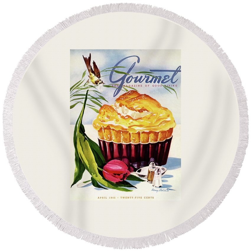 Illustration Round Beach Towel featuring the photograph Gourmet Cover Illustration Of A Souffle And Tulip by Henry Stahlhut