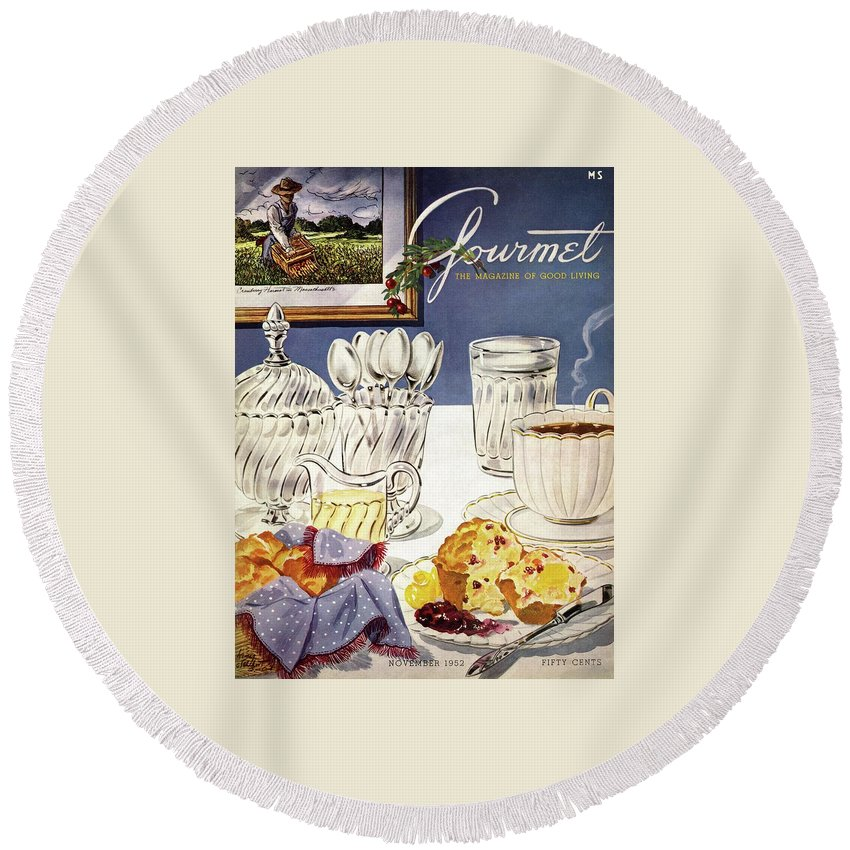 Food Round Beach Towel featuring the photograph Gourmet Cover Illustration Of Cranberry Muffins by Henry Stahlhut