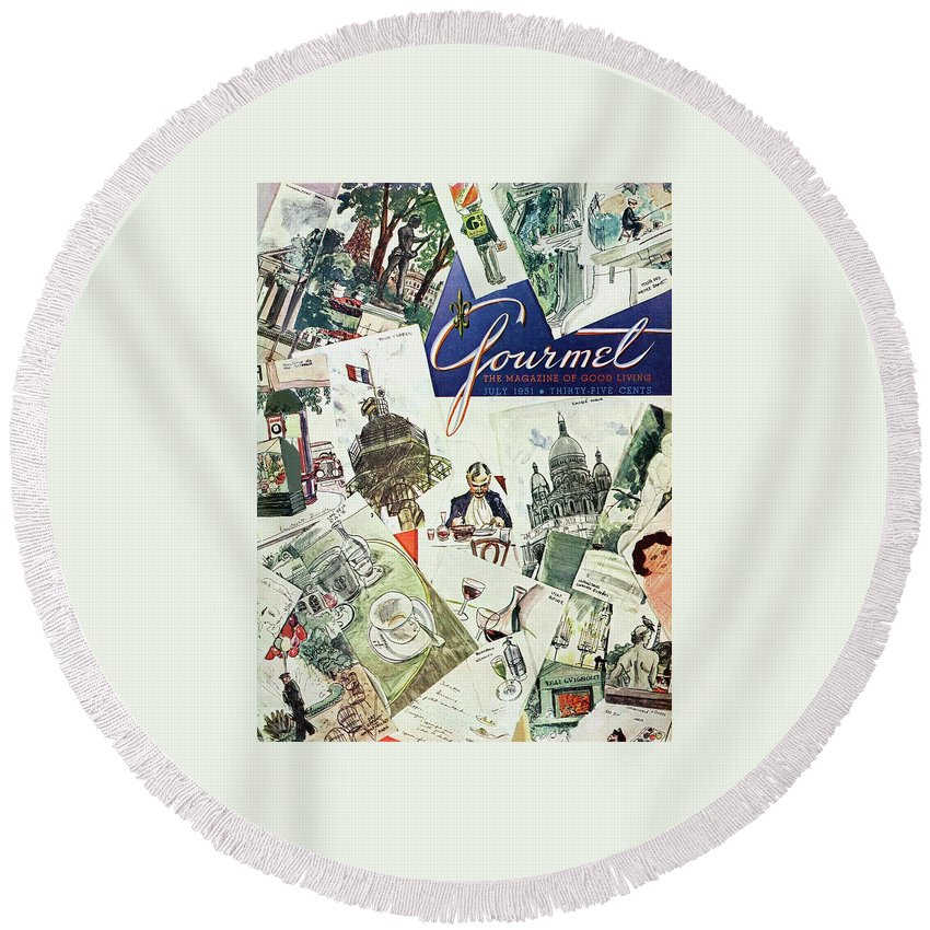 Illustration Round Beach Towel featuring the photograph Gourmet Cover Illustration Of Drawings Portraying by Henry Stahlhut