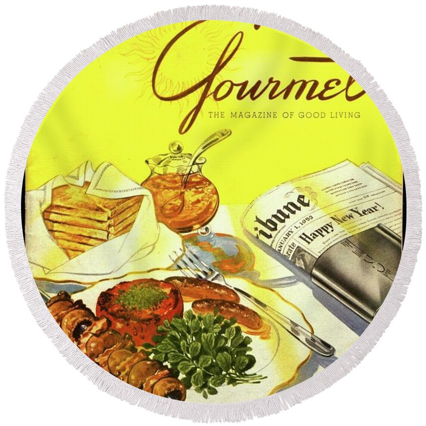 Illustration Round Beach Towel featuring the photograph Gourmet Cover Illustration Of Grilled Breakfast by Henry Stahlhut