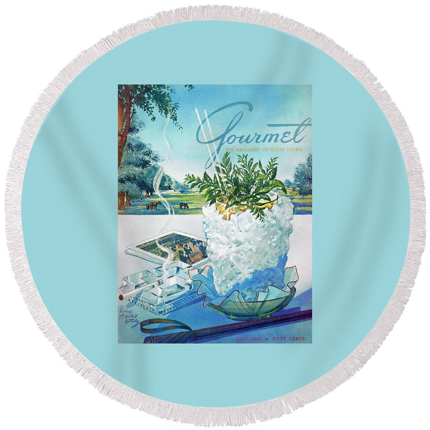 Food Round Beach Towel featuring the photograph Gourmet Cover Illustration Of Mint Julep Packed by Henry Stahlhut