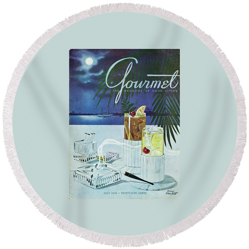 Boat Round Beach Towel featuring the photograph Gourmet Cover Of Cocktails by Henry Stahlhut