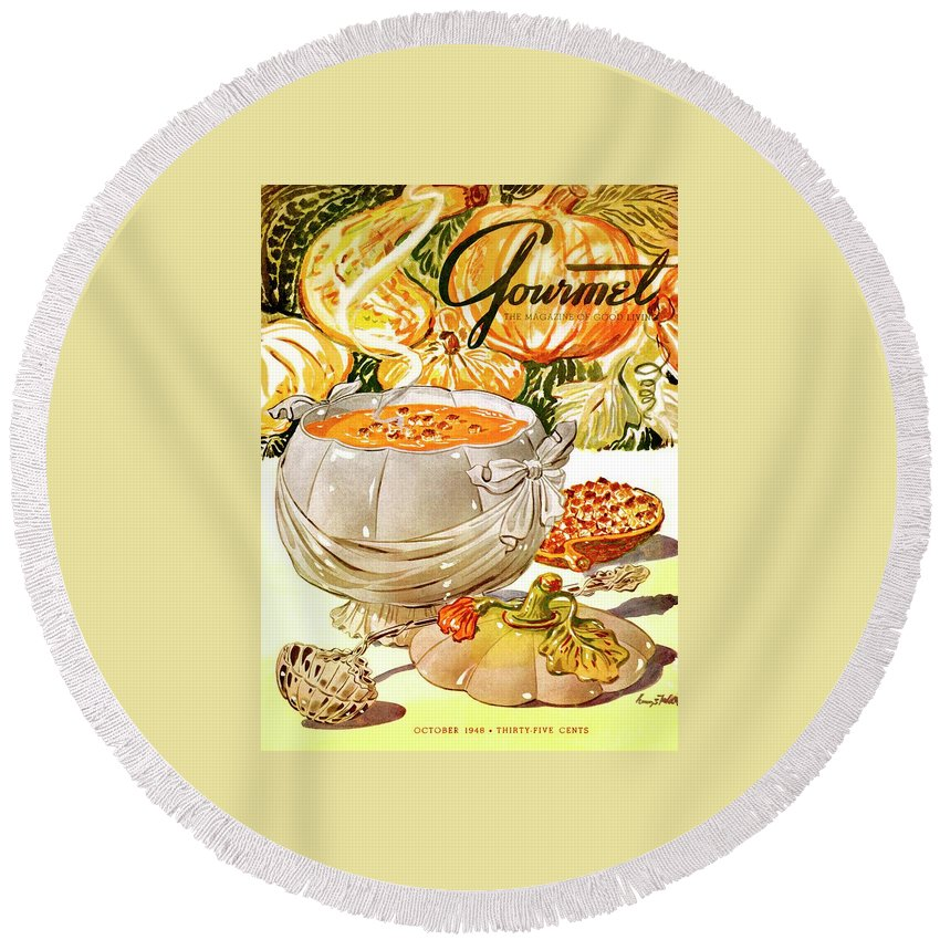 Food Round Beach Towel featuring the photograph Gourmet Cover Of Pumpkin Soup by Henry Stahlhut