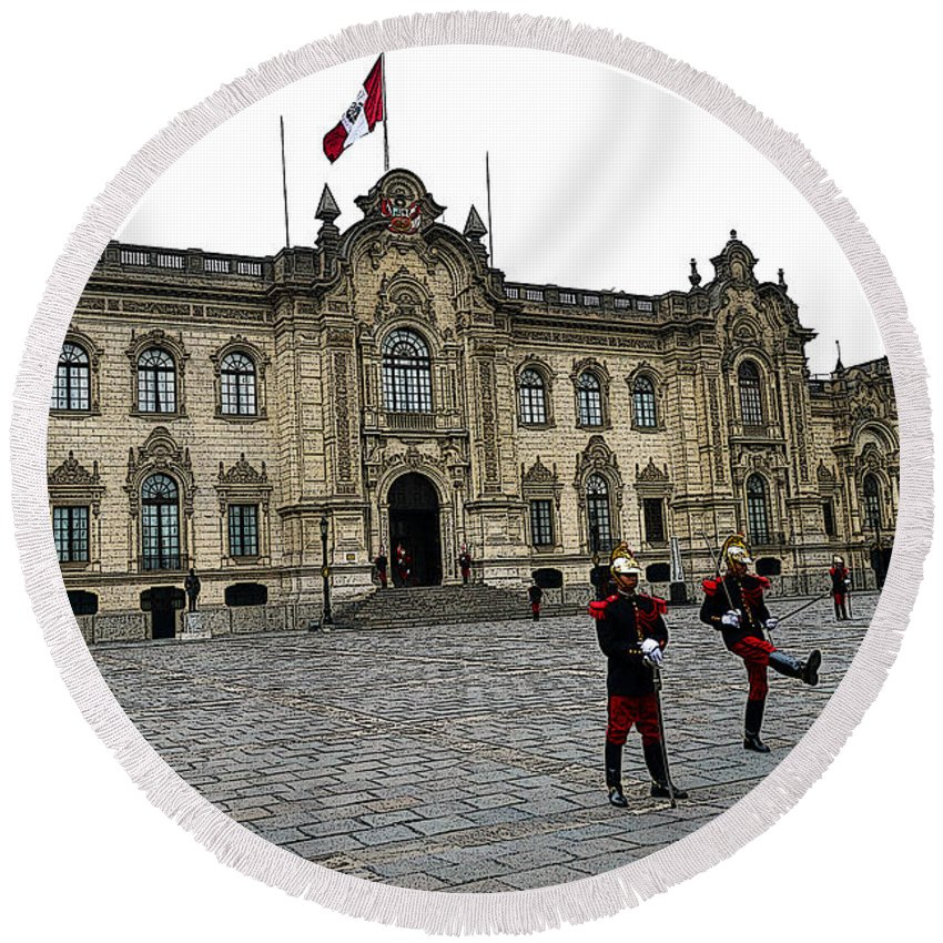 Lima Round Beach Towel featuring the photograph Government Palace Guards In Lima by Catherine Sherman