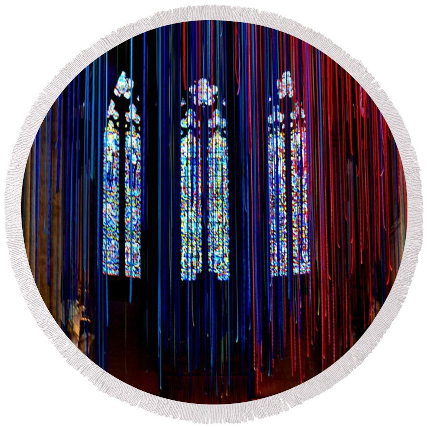 Grace Cathedral Round Beach Towel featuring the photograph Grace Cathedral With Ribbons by Dean Ferreira