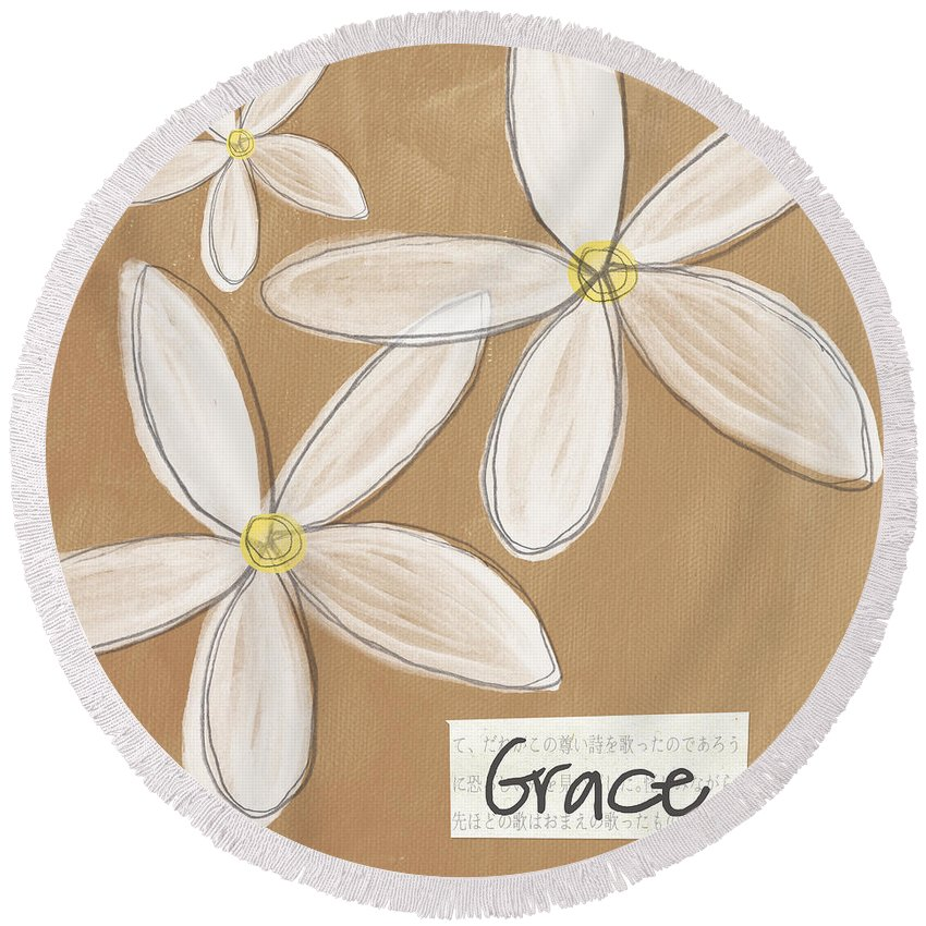 Grace Round Beach Towel featuring the mixed media Grace by Linda Woods