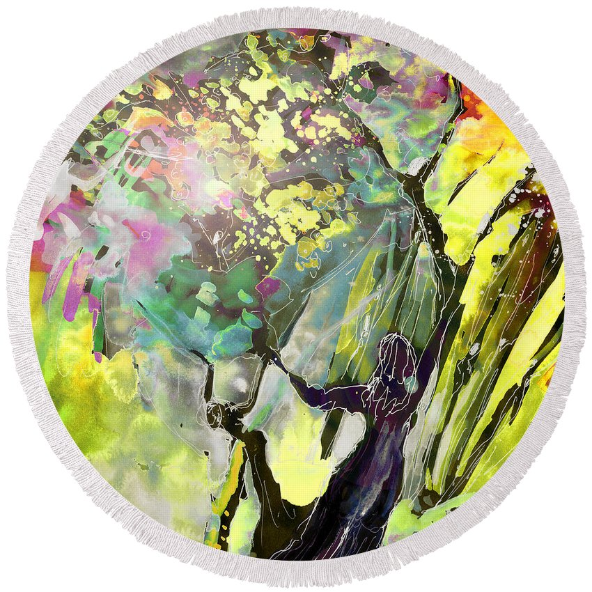 Fantasy Round Beach Towel featuring the painting Grace Under Pressure by Miki De Goodaboom