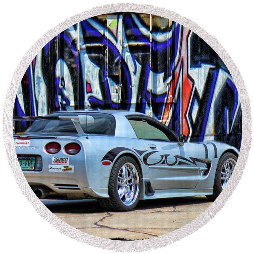 Silver Corvette Round Beach Towel featuring the photograph Graff Vette by Sylvia Thornton