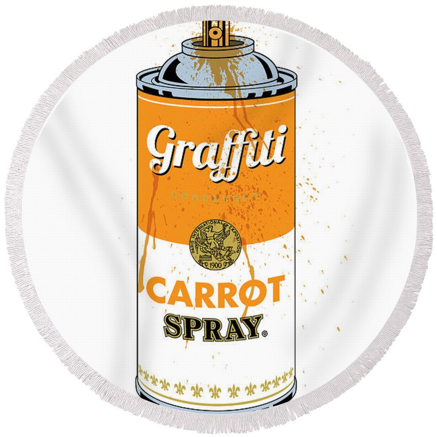 Digital Round Beach Towel featuring the digital art Graffiti Carrot Spray Can by Gary Grayson