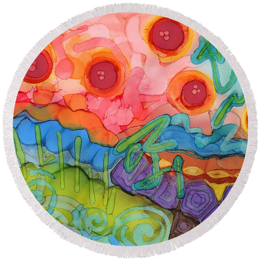 Abstract Round Beach Towel featuring the painting Graffiti On The Wall Of My Mind by Vicki Baun Barry