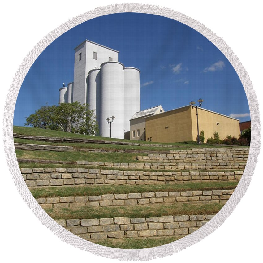 Riverside Round Beach Towel featuring the photograph Grain Elevator Trackside by Caryl J Bohn