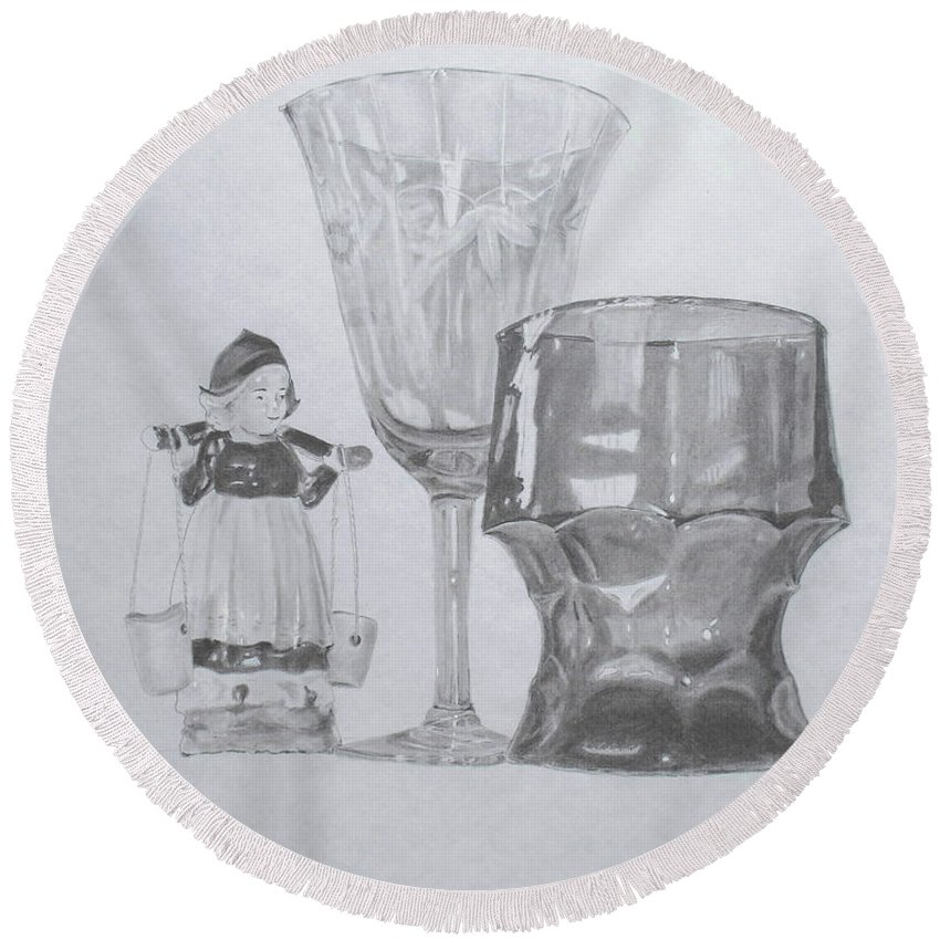 Glassware Round Beach Towel featuring the drawing Grammas Glasses by Mary Ellen Mueller Legault
