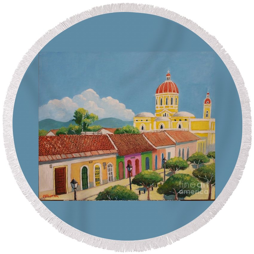 Colonial Round Beach Towel featuring the painting Granada Cathedral by Jean Pierre Bergoeing