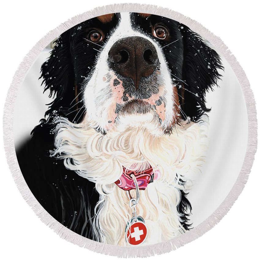 Bernese Mountain Dog Round Beach Towel featuring the painting Grand Berner Girl by Liane Weyers