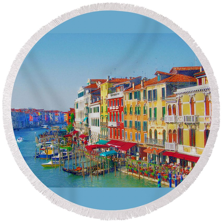 Venice Round Beach Towel featuring the digital art Grand Canal by Irina Davis