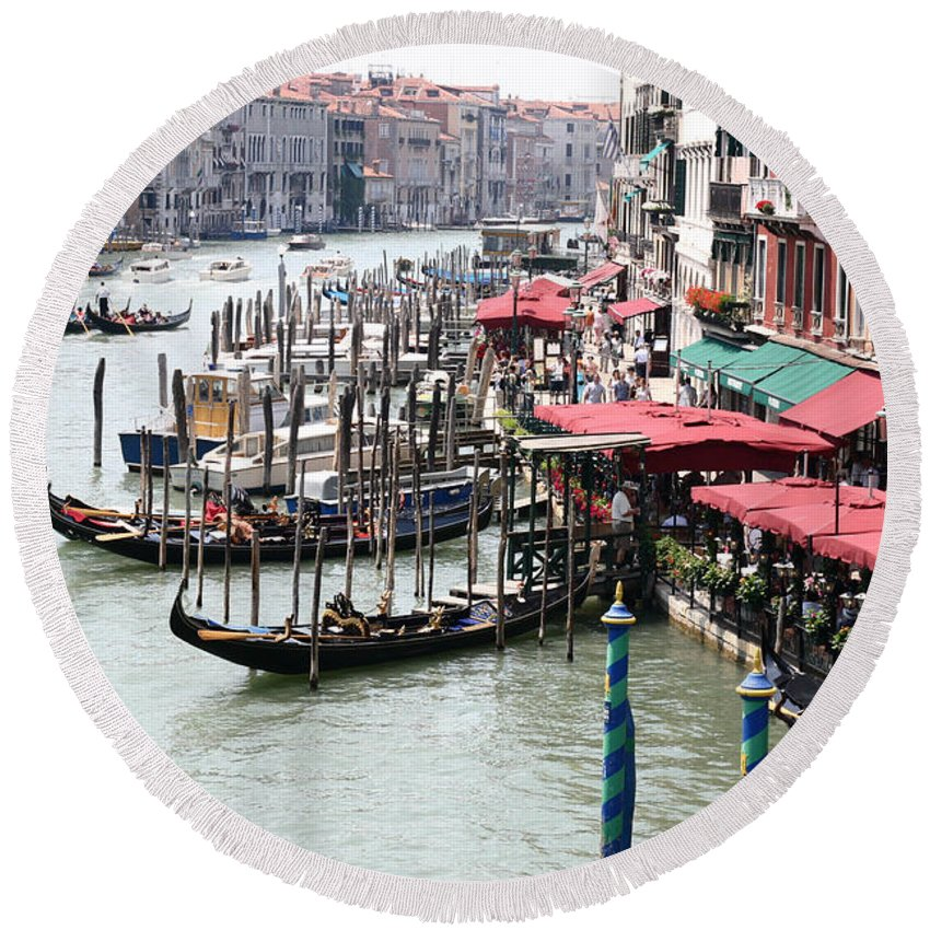 Grand Canal Round Beach Towel featuring the photograph Grand Canal, Venice by Holly C. Freeman