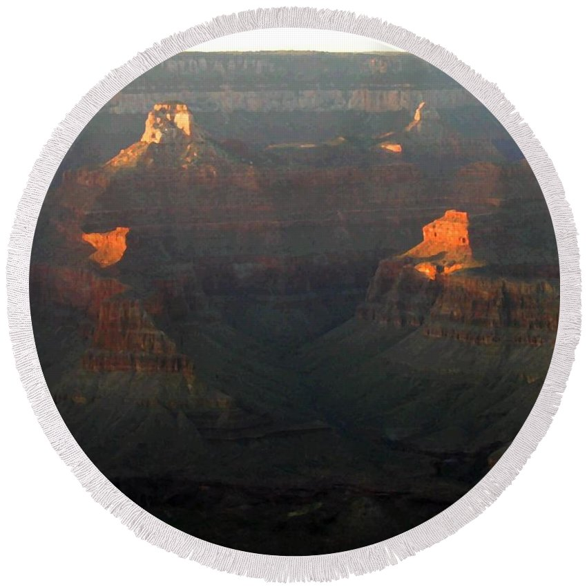 Grand Canyon 82 Round Beach Towel featuring the digital art Grand Canyon 82 by Will Borden