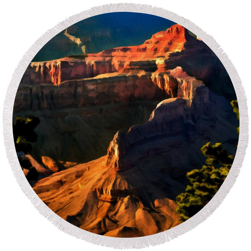 Grand Canyon National Park Round Beach Towel featuring the painting Grand Canyon At Sunset by Bob and Nadine Johnston