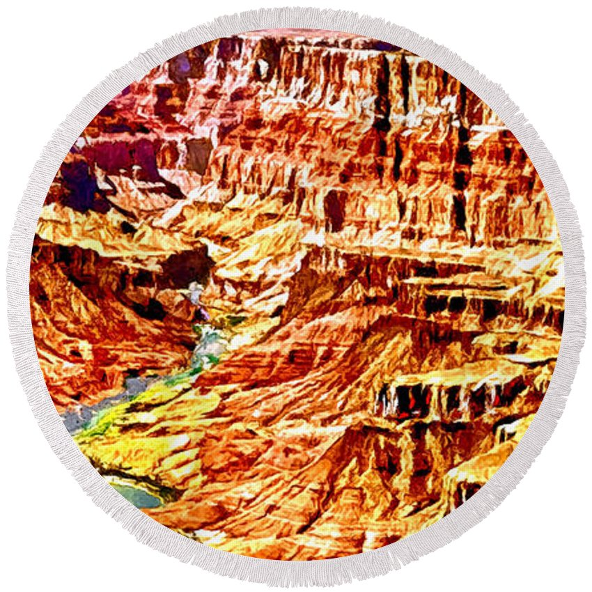 Grand Canyon Navajo Point Round Beach Towel featuring the painting Grand Canyon Navajo Painting by Bob and Nadine Johnston