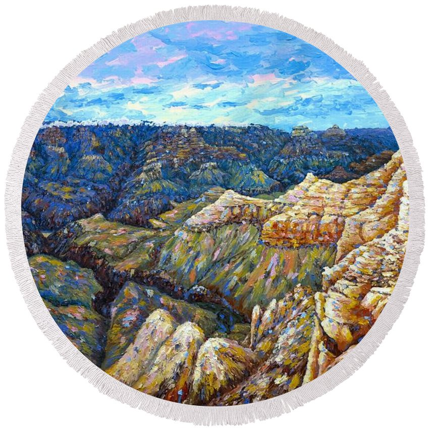 Landscape Round Beach Towel featuring the painting Grand Canyon South Rim 2 by Francesca Kee