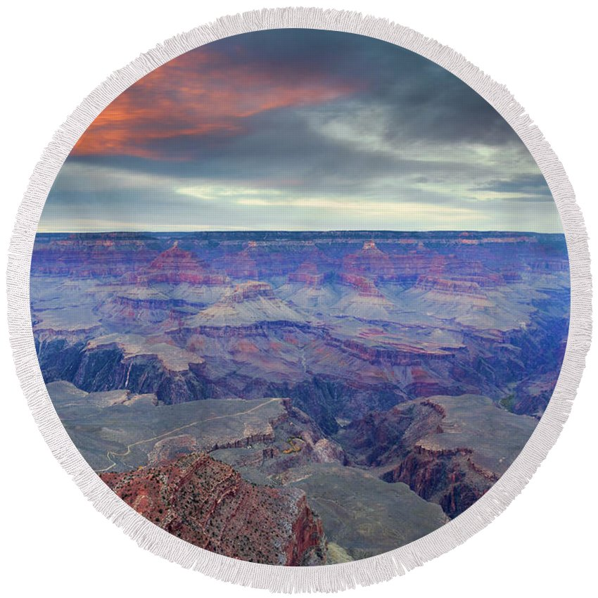 Grand Canyon Round Beach Towel featuring the photograph Grand Canyon Storm Set by Mike Dawson