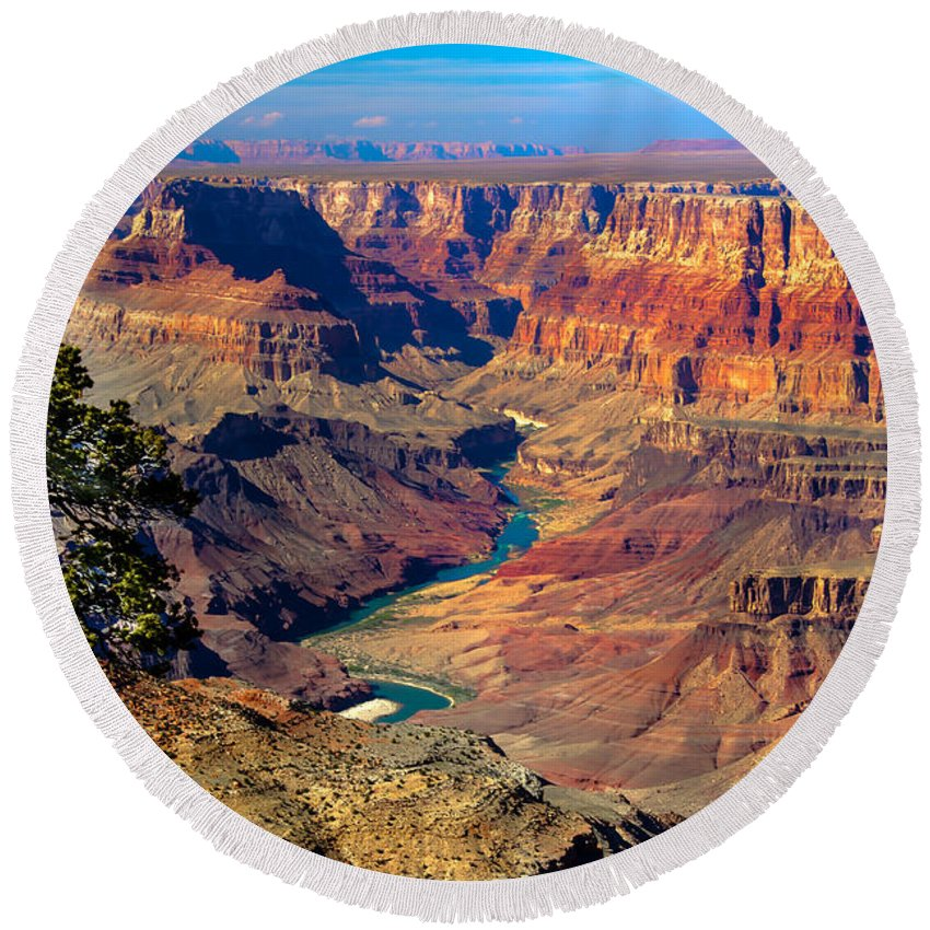 Grand Canyon Round Beach Towel featuring the photograph Grand Canyon Sunset by Robert Bales