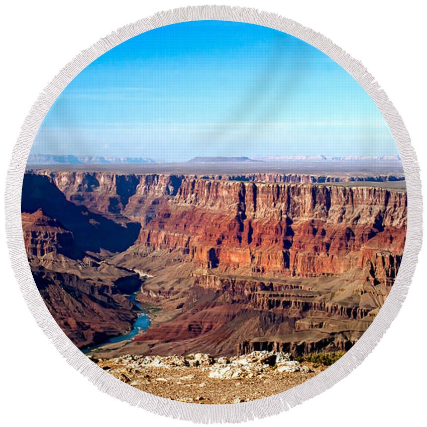 Grand Canyon Round Beach Towel featuring the photograph Grand Canyon Vast View by Robert Bales