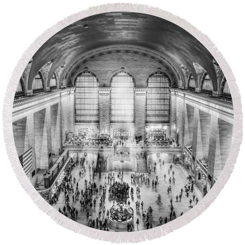 New York City Round Beach Towel featuring the photograph Grand Central Terminal Birds Eye View Bw by Susan Candelario